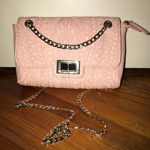 Pink clutch with gold chain